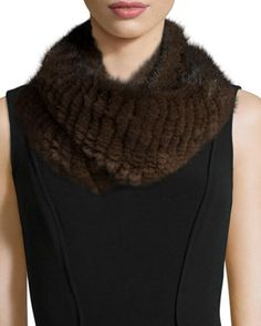 Knitted+Mink+Fur+Infinity+Scarf,+Brown+by+Pologeorgis+at+Bergdorf+Goodman.