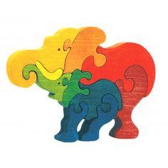 Puzzle en bois écologique et équitable, famille éléphant