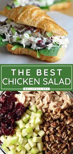 Learn how to make Chicken Salad! Mixed with dried cranberries, apples, and pecans, this recipe is the BEST. Enjoy it on its own, as a simple side dish, or as a sandwich for a quick and easy lunch or dinner idea for tonight! Check out some variations you can try! Best Chicken Salad Recipe, Can Chicken Recipes, Simple Chicken Salad, Chicken Salad Sandwiches, Easy Salad Recipes, Lunch Recipes, Easy Dinner Recipes, Sandwich Recipes, Dinner Ideas