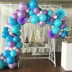 Balloon Garland & Arch Kit for Frozen Purple Teal Blue White Latex Balloons, 16 Feets Arch Balloon Strip Tape, Glue Dots, Tying Tool for The Little Mermaid Birthday Baby Shower Frozen Balloon Decorations, Frozen Balloons, Balloon Arch Diy, Mermaid Balloons, Purple Balloons, White Balloons, Balloon Garland, Latex Balloons, Birthday Decorations