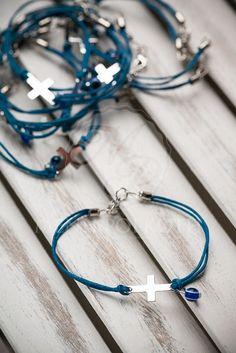 Witness bracelets blue with cross and evil eye (mati)