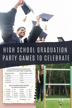 15 High School Graduation Games to Celebrate Your Grad - peachy party games Outdoor Graduation Parties, Graduation Party Games, Graduation Party Centerpieces, Graduation Decorations, High School Graduation, Grad Parties, Graduate School, Graduation Ideas, Graduation Gifts