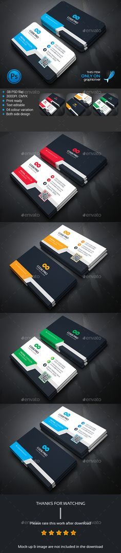 Corporate Business Card — Photoshop PSD #white #official • Available here → https://graphicriver.net/item/corporate-business-card/13991746?ref=pxcr
