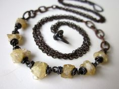 Lest You Forget - simple primitive pale yellow crystallized citrine stone nuggets, chunky chain links, and layered oxidized copper necklace by LoveRoot on Etsy, $31.00