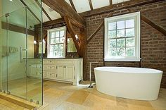 The Tulane Barn in Princeton, NJ was built in 1850 and originally converted into a house in the 1980s. #bathroom