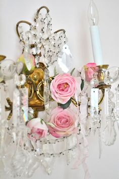 Crystal Sconce and Roses