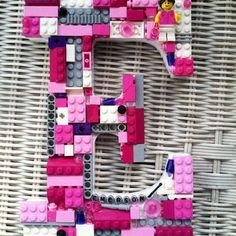 Custom girl wall letter, toy bricks, E