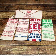 Flour Sack Labels Kitchen Towels Set of 4 Vintage Style Linen 17 x 28 - Retro Planet