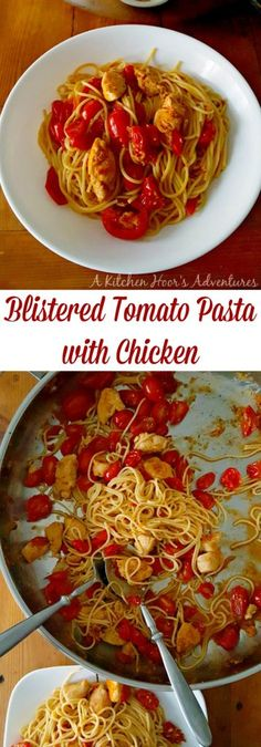 This Blistered Tomato Pasta with Chicken recipe is simple yet packed with complex flavors. It's a perfectly healthy weeknight meal for guests.  A new fave to add to my dinner recipes.