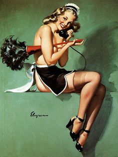 TITLE: I Gave Him The Brush Off DATE: 1947 NOTES: Publisher: Brown & Bigelow. by Gil Elvgren (1914-1980)
