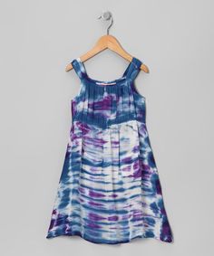 Take a look at this Purple & Royal Blue Acid Wash Dress - Toddler & Girls by Raya Sun on #zulily today!