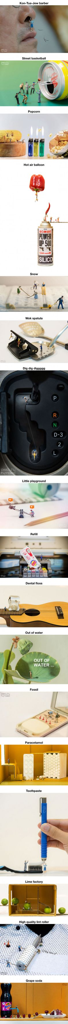 Artist Captures Miniature People Dealing With Everyday Life Objects (By PeeOwhY) - People Photos - Ideas of People Photos - Artist Captures Miniature People Dealing With Everyday Life Objects (By PeeOwhY) Miniature Photography, Art Photography, Best Funny Pictures, Cool Pictures, Miniature Calendar, Tiny World, People Art, Art Plastique, Little People