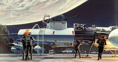 "ANH: ""Rebel Landing Strip"". Based on the name of this painting, it appears that these Y-Wing pilots have successfully completed their missions and have returned to Yavin 4 to get their ships repaired and to get refueled."