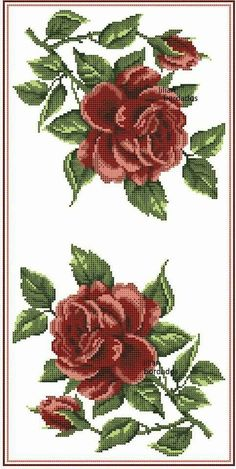 Butterfly Cross Stitch, Cross Stitch Rose, Cross Stitch Flowers, Cross Stitch Charts, Cross Stitch Patterns, Pink And White Flowers, Red Roses, Cross Stitching, Cross Stitch Embroidery