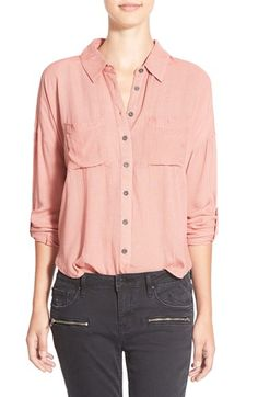 Free shipping and returns on Sun & Shadow Split Back Collared Shirt (Juniors) at Nordstrom.com. A soft and airy button-front shirt sports an unexpected split back and wrist-baring roll-up sleeves.