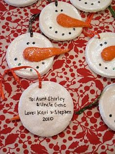 salt dough snowmen ornaments