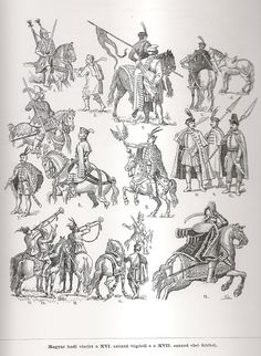 Odzież i broń węgierska XVI - XVII w. Army Drawing, Medieval Peasant, Thirty Years' War, Early Modern Period, Medieval Armor, Modern Warfare, Ottoman, Antique Prints, Gravure