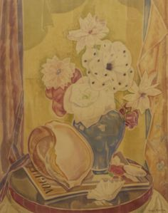 THEA PROCTOR (1879-1966) Still Life with Vogue Magazine 1930s watercolour o