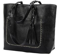 Large Vegan LeatherTote Shoulder Bag by KMFFLY in Black  6172aec66babb