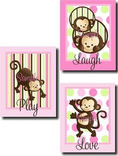 Girl Monkey Wooden WALL CLOCK for Girls Bedroom Baby Nursery. $45.00, via Etsy.