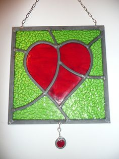 STAINED GLASS HEART PANEL , LIGHTCATCHER - Folksy