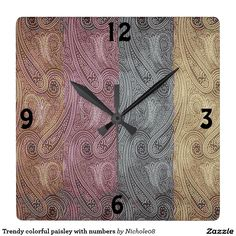 Trendy colorful paisley with numbers square wall clock