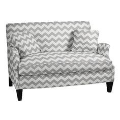 "$1163 in gray chevron -- 53"" wide settee from Ballard Designs."