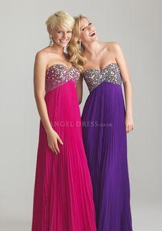 Sweetheart Chiffon A line Floor Length Empire Prom Dresses