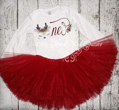 Reindeer First Birthday Tutu Outfit- Cake Smash Outfit- Birthday Outfit- Unicorn Birthday- Birthday Outfit- One- Winter Wonderland by MySweetPeaCouture on Etsy First Birthday Tutu, 1st Birthday Outfits, Little Girl Birthday, Unicorn Birthday, Birthday Ideas, Tutu Outfits, Girl Outfits, Baby Girl Christmas, Christmas Birthday
