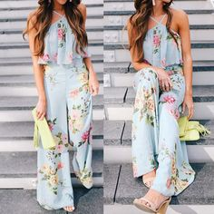 2018 Summer Women chiffon Strap Floral Sleeveless Backless Long Wide Leg Trousers Bohemian floral printed jumpsuit A Backless Jumpsuit, Floral Jumpsuit, Elegant Jumpsuit, Striped Jumpsuit, Printed Jumpsuit, Rompers Women, Jumpsuits For Women, Long Jumpsuits, Playsuit Romper