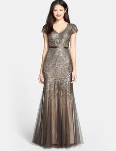 Adrianna Papell Formal Beaded Mesh V-Neck Cap Sleeve Gown