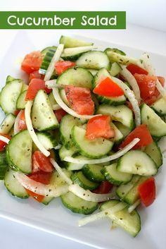 Super easy cucumber salad with a tangy white wine vinegar dressing