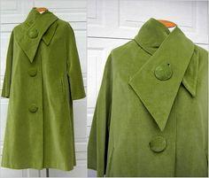 """Moss Green Velvet / Velveteen Coat - Marguerite Rubel San Francisco Vintage 60s - M to L - Bust 48"""""""