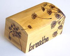 Dandelion Wishes Solid Pine Wooden Box With Wood Burned Design Crafts Painted