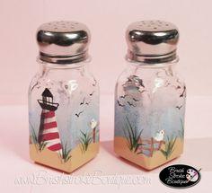 Hand Painted Salt & Pepper Shakers - Lighthouse - Original Designs by Cathy Kraemer