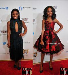 Olympian great #SimoneBiles and actress #SkaiJackson at the #EbonyPower100 Awards . #fashion #style #redcarpet #celebedition