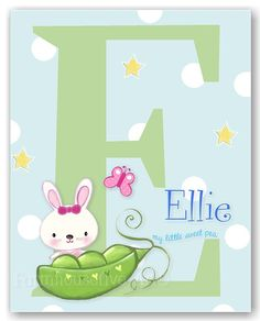 Sweet Pea Bunny Letter Wall Art