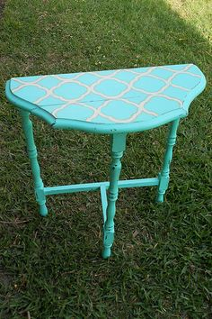 Marvelous Chalk Paint U0026 Quatrefoil Vintage Half Moon Table | Junktiques