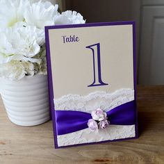 Lace Table Number - Purple and Lavender Wedding Table Number - Flower Table Number - Couture Table Card (Tented Floral Table Number)