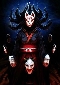 Kitsune On'na by Shalinka Anime Kunst, Anime Art, Kitsune Maske, Character Concept, Character Art, Japanese Fox Mask, Japanese Tattoo Art, Fox Girl, Monsters