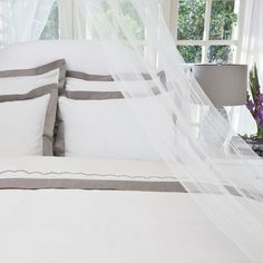 400 Thread Count  Classic Hotel-Inspired Border Duvet, The Linden Gray contemporary duvet covers