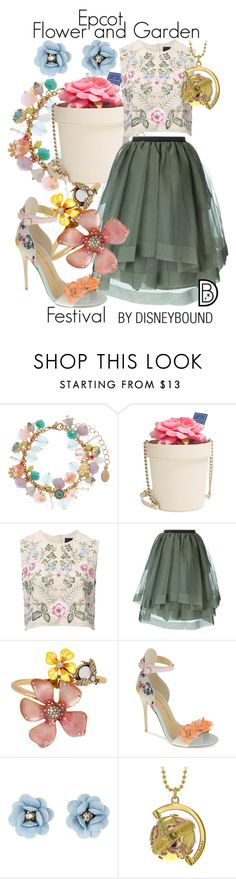 """Epcot Flower & Garden Festival"" by leslieakay ❤ liked on Polyvore featuring Accessorize, Kate Spade, Needle & Thread, Antonio Marras, Betsey Johnson, Chinese Laundry, True Rocks, floral, disney and disneybound"