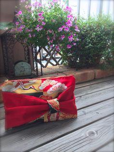 Obi / Kimono / Clutch / RD764  Reversible Bow Obi Clutch Bag by RummyHandmade on Etsy