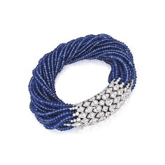 Platinum, Sapphire and Diamond Bracelet, Cartier, France The torsade bracelet composed of 21 strands of sapphire beads, the scale-like terminals set with round diamonds weighing approximately 7.85 carats, length 7¼ inches, signed Cartier, numbered 52290C, with French assay and workshop marks.