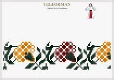 Semne Cusute: garoafe de Teleorman Folk Embroidery, Cross Stitch Embroidery, Hama Beads, Beading Patterns, Pixel Art, Diy And Crafts, Crochet, Floral, Flowers