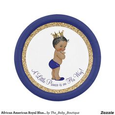 African American Royal Blue Prince Baby Shower 7 Inch Paper Plate