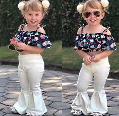 Girls' Clothing (Sizes 4 & Up) Boutique Toddler Kids Girls Off Shoulder Floral Tops Flares Pants Outfits Set African Dresses For Kids, Dresses Kids Girl, Kids Outfits, Baby Outfits, Little Girl Fashion, Kids Fashion, Baby Kostüm, Mother Daughter Fashion, Kids Dress Wear