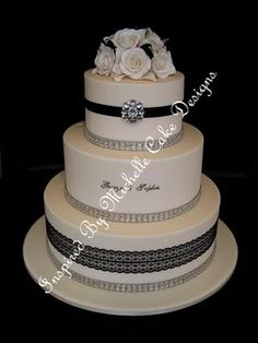 Wedding, Cake, White, Black, Silver