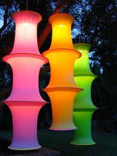 impresionantes linternas!! tela streech / aros hula / luces!!!