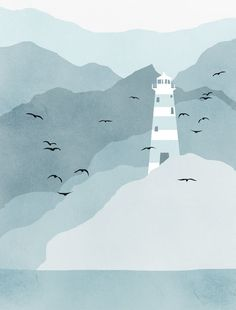 Lighthouse Art Print, Nautical Decor, Mountains, Bird Print, Blue Grey, Teal, Children Decor. Need to print in Greys more than blues tho